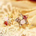 Fashion Full Rhinestone Five-pointed Star Shaped Colorful Crystal Stud Earrings for Women Jewelry    4ED395