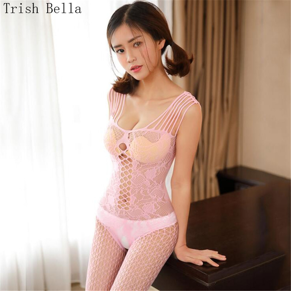 transparent String Camisole Hollow out one piece Net clothing Dew lingerie bodystocking body sexy costumes catsuit open crotch in Teddies Bodysuits from Novelty Special Use