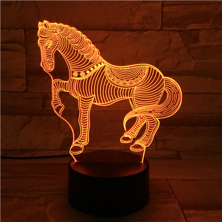 Acrylic 3D Lamp USB Novelty Gifts 7 Colors Changing Animal Horse Led Night Lights 3D LED