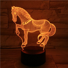 Acrylic 3D Lamp USB Novelty Gifts 7 Colors Changing Animal Horse Led Night Lights 3D LED Desk Table Lamp as Home Decoration