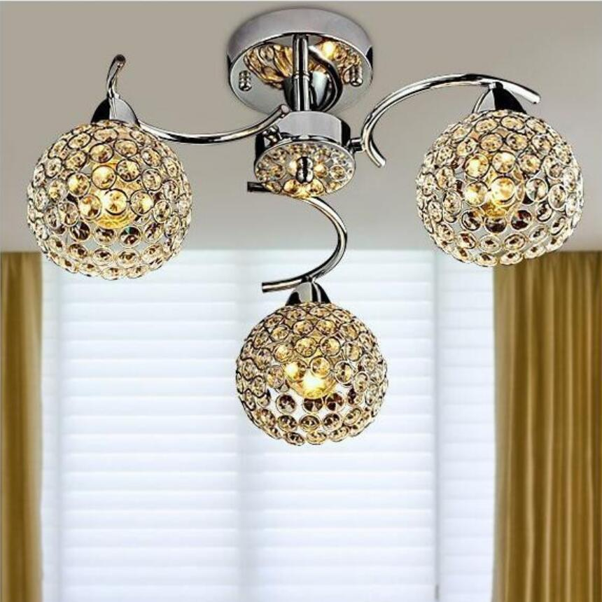 Modern iron crystal Ceiling lamps E14 bulb LED lamps living room Ceiling lights 3 light sources