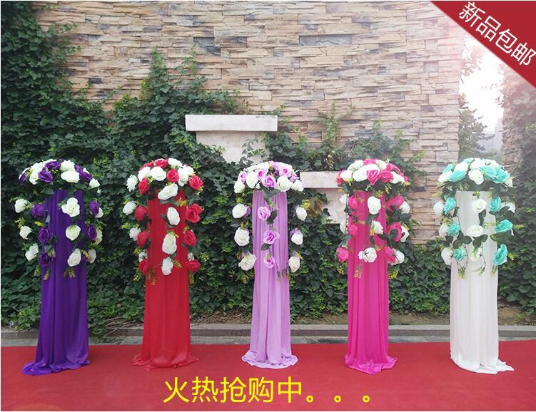 4 cadre de plomb de route de pcslidérive zi lu a dépensé le tissu de soie de glace nouveau panier de fleur de route d'accessoires de mariage