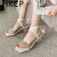 HKCP Spring/summer 2019 new fashion crystal sandals with diamond toe buckle simple bow womens shoes C242