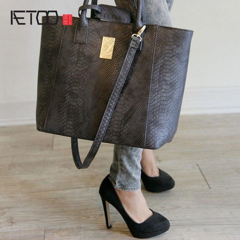 AETOO Big bag 2017 new fashion leather handbags wild minimalist leather  shoulder bag handbag Messenger bag 692705ecb4