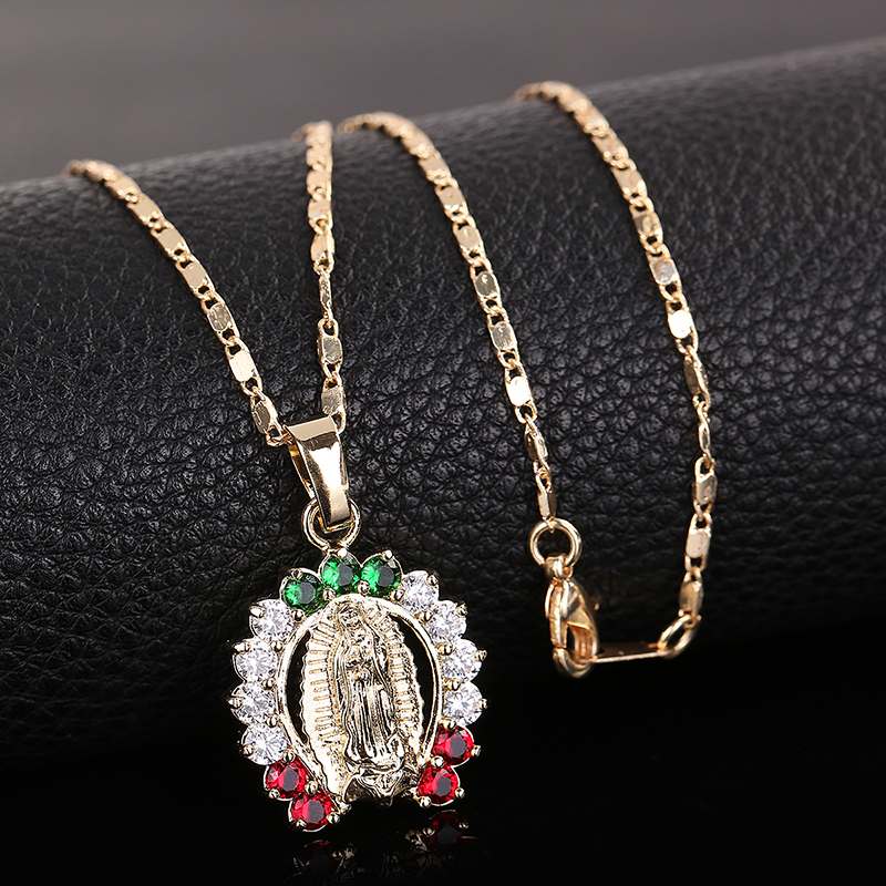 OUMEILY Hollow Bead Necklace pendant Women Vintage Fashion Israel Jewelry Arab Turkish Jewellery Virgin Mary Necklaces