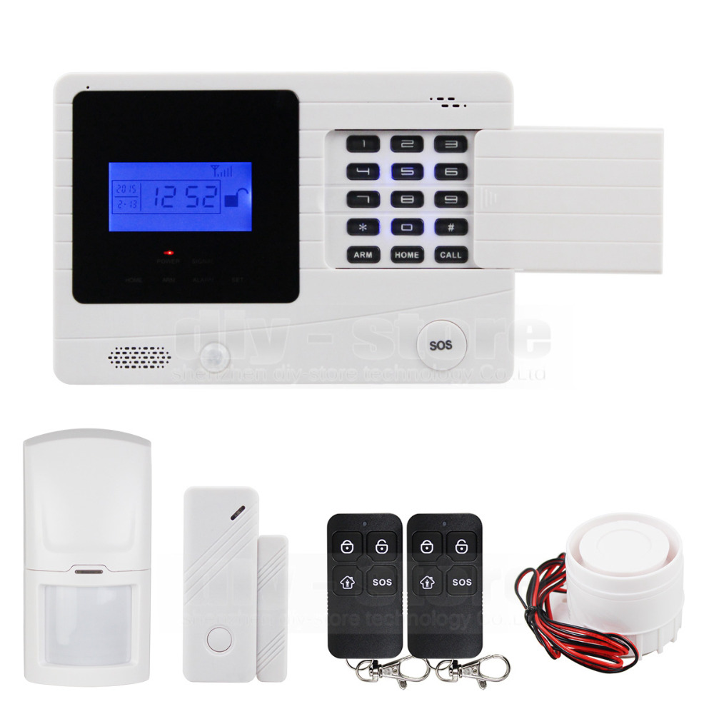 DIYSECUR 433MHz Wireless GSM Alarm System For Home Security System with PIR/Door Sensor 850/900/1800/1900MHz M2K kerui new 900 1800 1900mhz wireless gsm pstn burglar security alarm system for home house garden store shop office