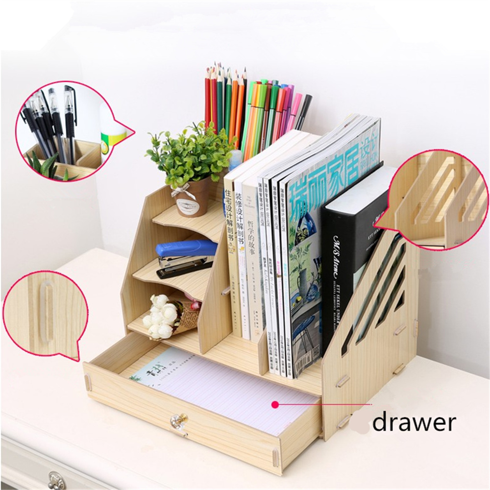 diy office desk accessories. DIY Wood Hand Made Desk Organizer Office School Supplies File Tray Book Holder Stationery Shelves Document Trays-in Folder From \u0026 Diy Accessories