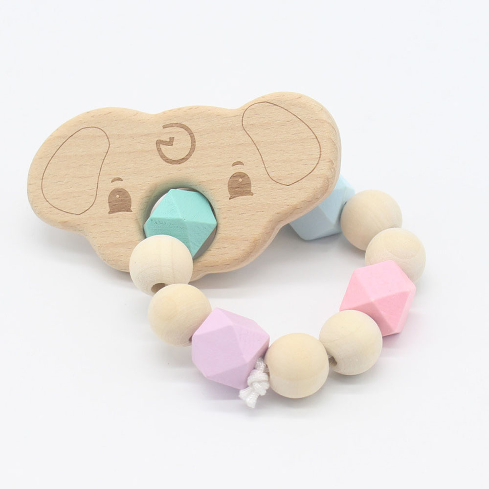 1X Natural Wooden Teether Cartoon shape Safety Beaded Baby Molar Stick Toy
