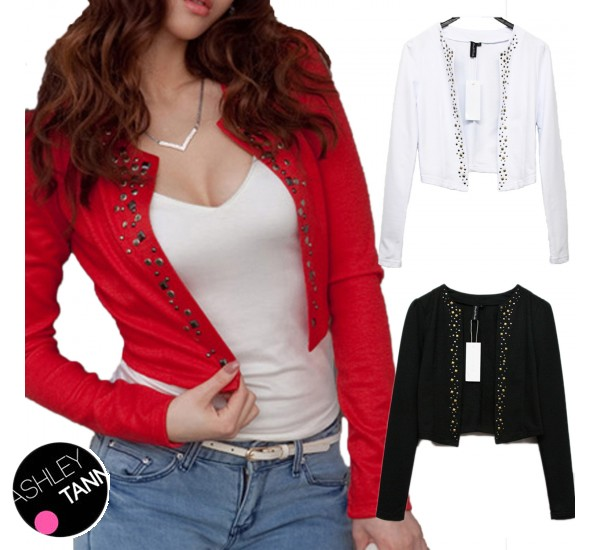 FREE SHIP Black/Red/White Ladies Blouse Long Sleeve Bolero Crop ...