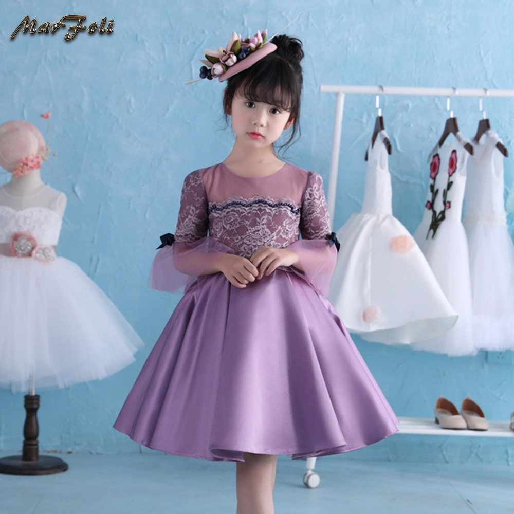 Marfoli Flower Girl Dress Pink Rose Wedding Pageant Kids Boutique 2017 Summer Princess Party Dresses Clothes ZT0063 marfoli girl princess dress birthday
