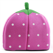 High Quality 2015 Highly Commend Soft Strawberry Pet Igloo Dog Cat Bed House Kennel Doggy Fashion Cushion Basket