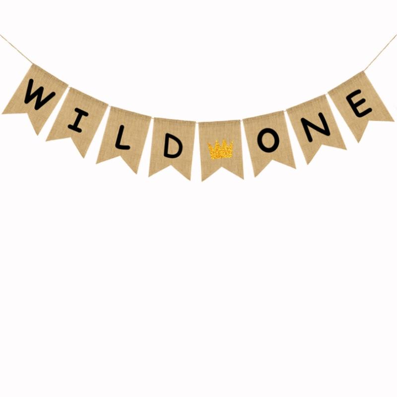 1 set Cute Glitter Gold Crown Jute Burlap Wild One Banner Baby Birthday Party Decoration
