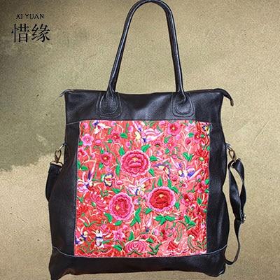XIYUAN BRAND 2017 luxury and fashion ladies big vintage handbag genuine leather embroidery Embroidered shoulder messanger bag ...