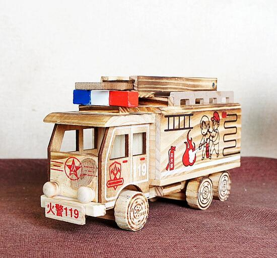 Popular toys wooden models wooden crafts fire truck wood