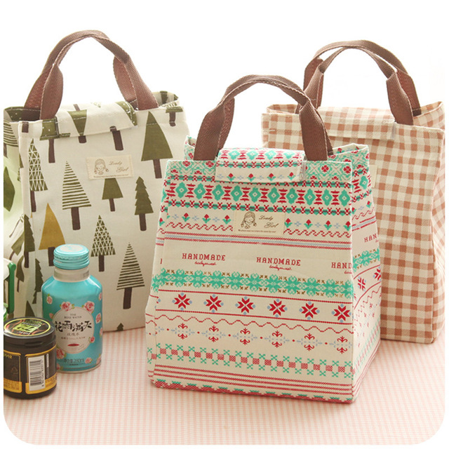 Cute Animal Whale Portable Insulated Canvas Lunch Bag Thermal Food Picnic Box Cooler For