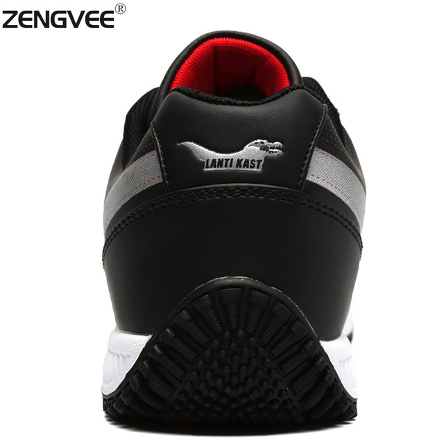 ZENGVEE Casual Shoes Men Super Star Summer Massage Wear-resisting Solid Lace-Up Waterproof PU Shoes Breathable Men Shoes