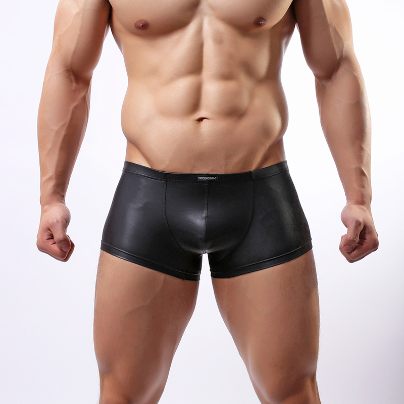 Wowhomme Faux Leather Panties Japanned Leather Panties Fashion Panties Male Sexy Underwear C33