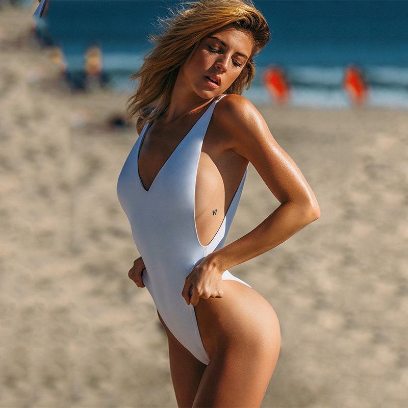 2018 Large Size Swimwear Women Sexy High Cut One Piece -6877