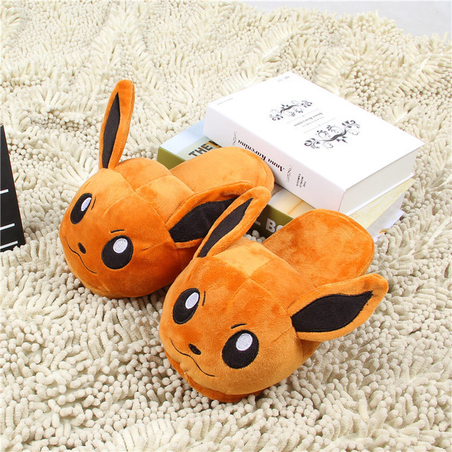 Women Anime Cartoon Pokemon Slippers Lovers Warm Woman Slippers Elf Ball Pikachu Go Plush Shoes Home House Slippers Children 4