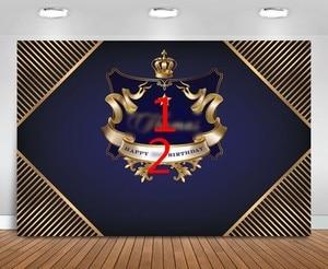 Image 3 - Personalizado coroa príncipe preto e ouro marinha listrado aniversário pano de fundo alta qualidade impressão computador festa