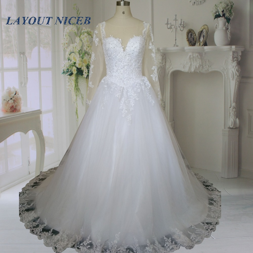Buy hot sale sheer long sleeves wedding for Wedding dresses with sleeves for sale