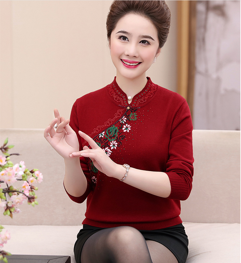 Middle-Aged Mother Pullover Sweater Women Embroidery Mandarin Collar Elegant Sweater Female Plus Size Womens Clothing R944