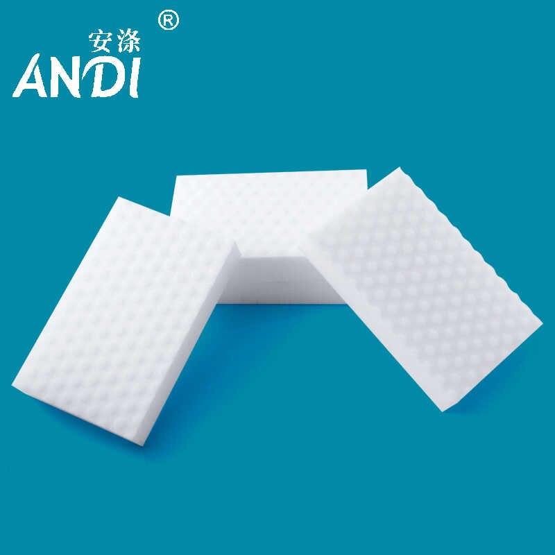 ANDI 100 sztuk/partia wysokiej jakości podwójne sprężone gąbka nano magiczna gąbka Eraser melamina Cleaner do czyszczenia kuchni 10x6x2 cm