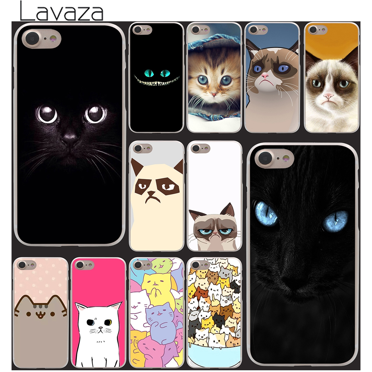 Black cat back Hard Clear Skin Case Cover for iPhone 4 4s 7 7 Plus 5 5s 5g 1PC