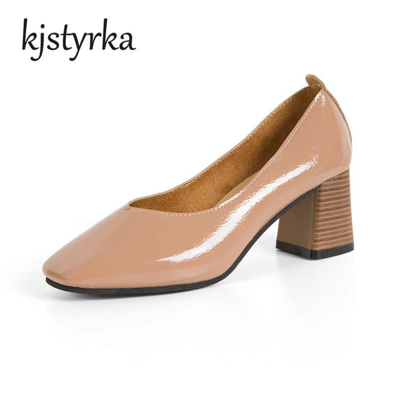 Kjstyrka New Fashion Patent Leather Women Med Heels Pumps Shoes Square Toe Office Lady Sexy Shoes Woman Casual Shoes Spring fashion new spring summer med high heels good quality pointed toe women lady flock leather solid simple sexy casual pumps shoes