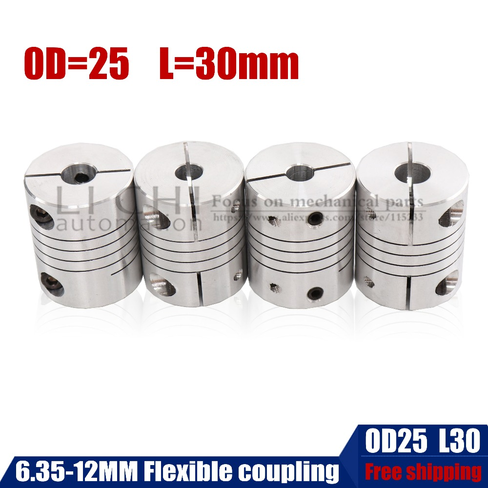 ID 6.35 8 10 12mm D25*L30 Aluminium CNC Stepper Motor Flexible Shaft Coupling Coupler Encoders Engraving MachineID 6.35 8 10 12mm D25*L30 Aluminium CNC Stepper Motor Flexible Shaft Coupling Coupler Encoders Engraving Machine