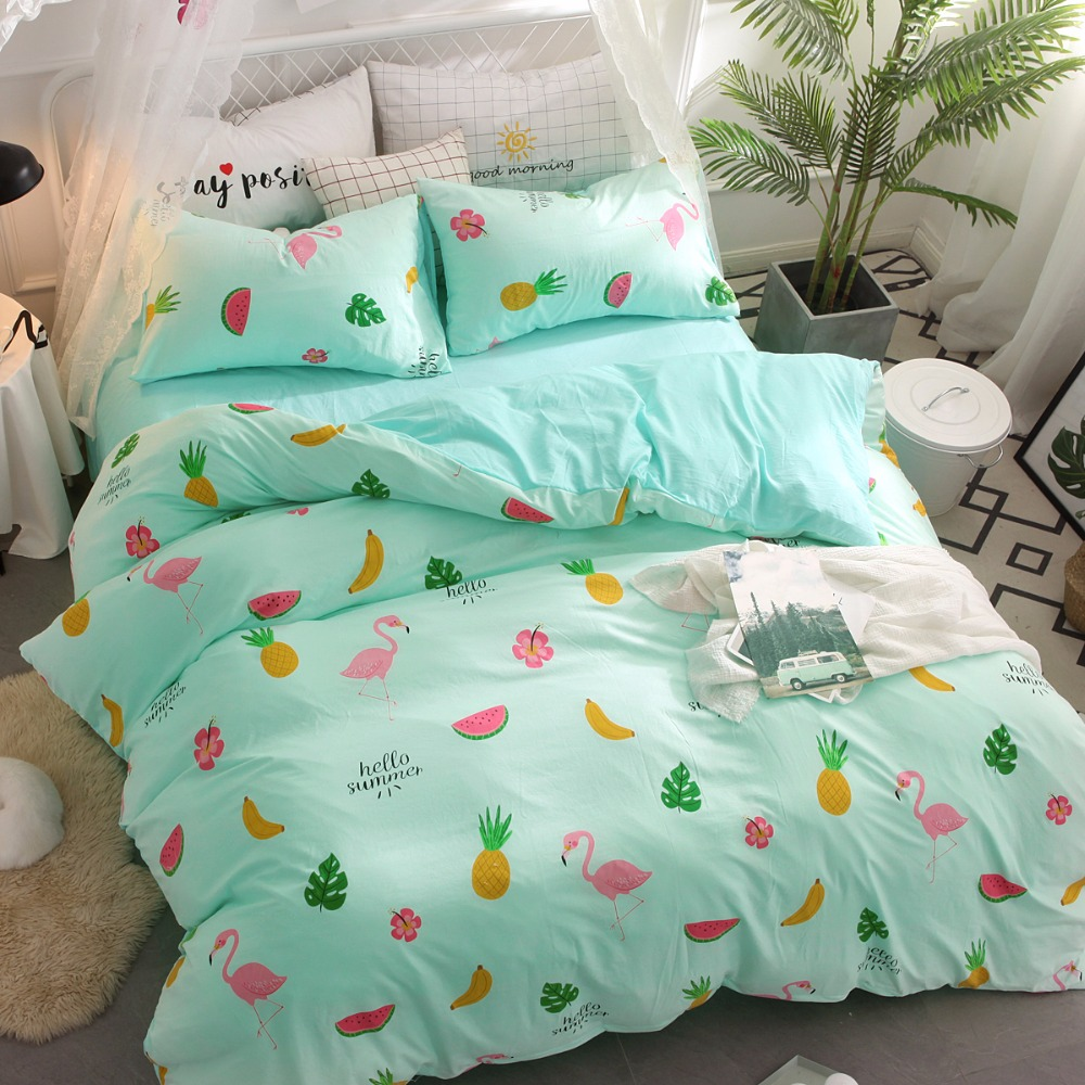 New Green Fruits Bedding Sets Printed Pineapple Watermelon