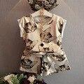 2016 verano nueva ropa de los bebés fijó impresión del gato de dibujos animados niñas infantiles ropa americana partido traje de ropa para niñas regalo
