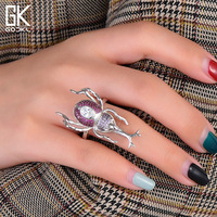 GODKI Newest S925 Sterling Silver Unicorn Insect Stackable Finger Rings for women Wedding Multicolor Zircon CZ Dubai Bridal Ring