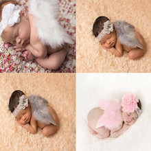 Newborn Photography Angel-Wings Baby Props-Accessories Flower Soft with Headband