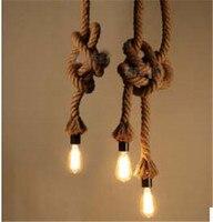 Retro criativo Luz Pingente Americano País LOFT luz Penant flexível Pendurado Corda de Cânhamo Lâmpada Luminária 110-240 V