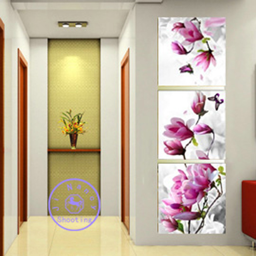Vertical Orchid diy diamond painting triptych decor painting square drill rhinestone embroidery painting by numbers