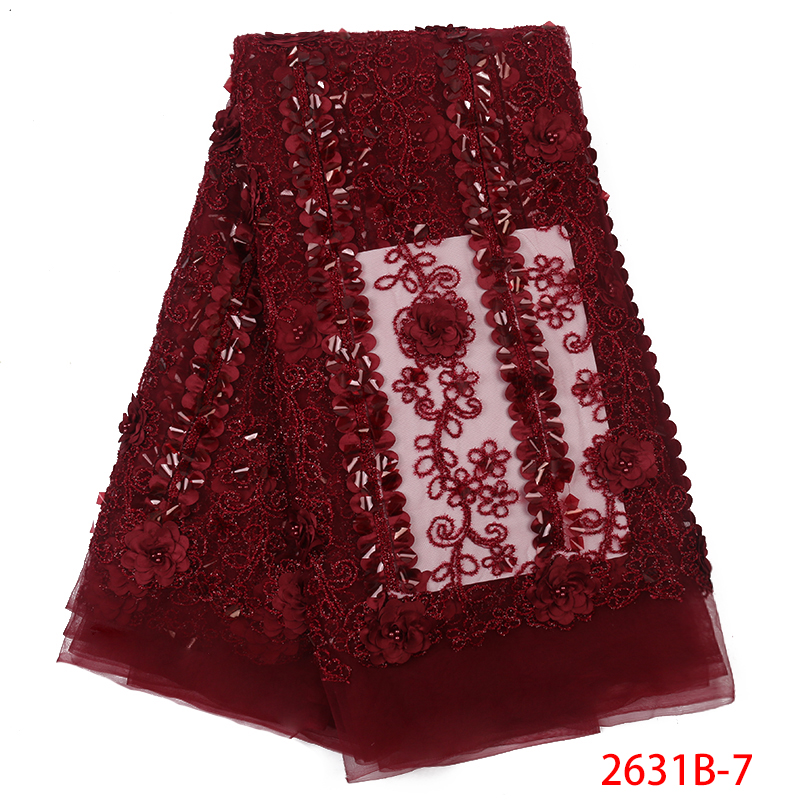2019 New Style African Lace Fabric French 3D Flower Tulle Lace Fabric High Quality Nigerian Mesh Fabrics Laces KS2631B-7