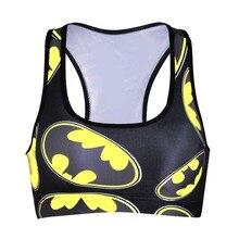 NEW 0029 Summer Sexy Girl Women Mixed Comics batman 3D Prints Padded Push Up Gym Vest Top Chest Running Sport Yoga Bras