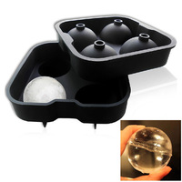 2Pc Set Food Safe Silicone Spherical Round Ball Ice Cube Tray Maker Mold For Party Bar