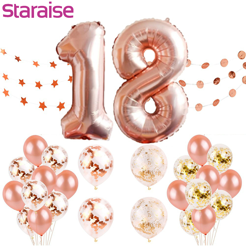Staraise Happy Birthday Balloons Rose Gold Number 18th Party Decorations Kids Adult 18 Supplies