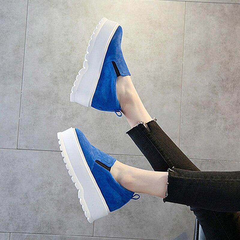 brown Automne De Appartements Femmes yellow Épaisse Sneaker Cuir Blue Femme Plate Talons 2018 Printemps sky white Chaussures Blue Véritable Semelle forme Sneakers red qBFnn0wxg