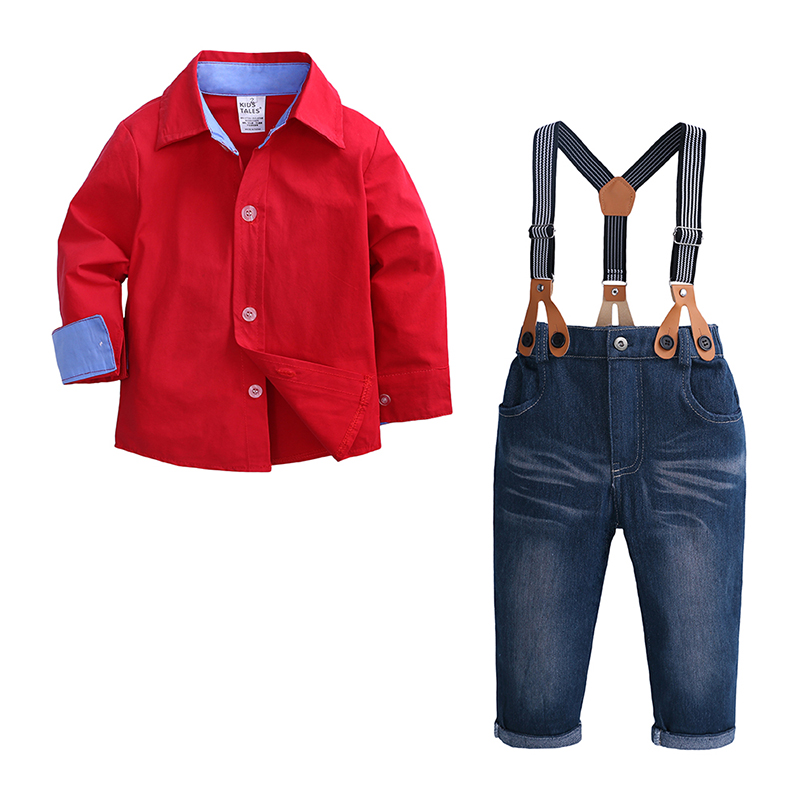 Kid Boy Clothes Set 2PCS Red Shirt Jean Pant Suit Outfit Age 2T-7 Bib Overall Long Sleeve Children Clothing Autumn French Cuff