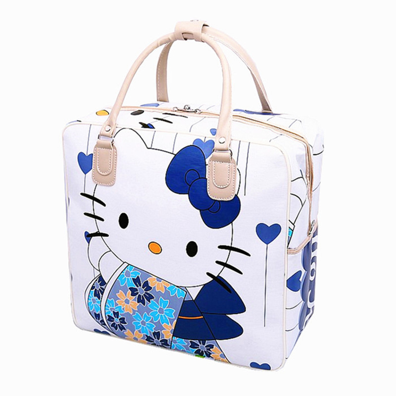 Women\'S Cute Hello Kitty Travel Bag Girls Lovely PU Leather Shoulder Messenger Tote Large Capacity Luggage Accessory