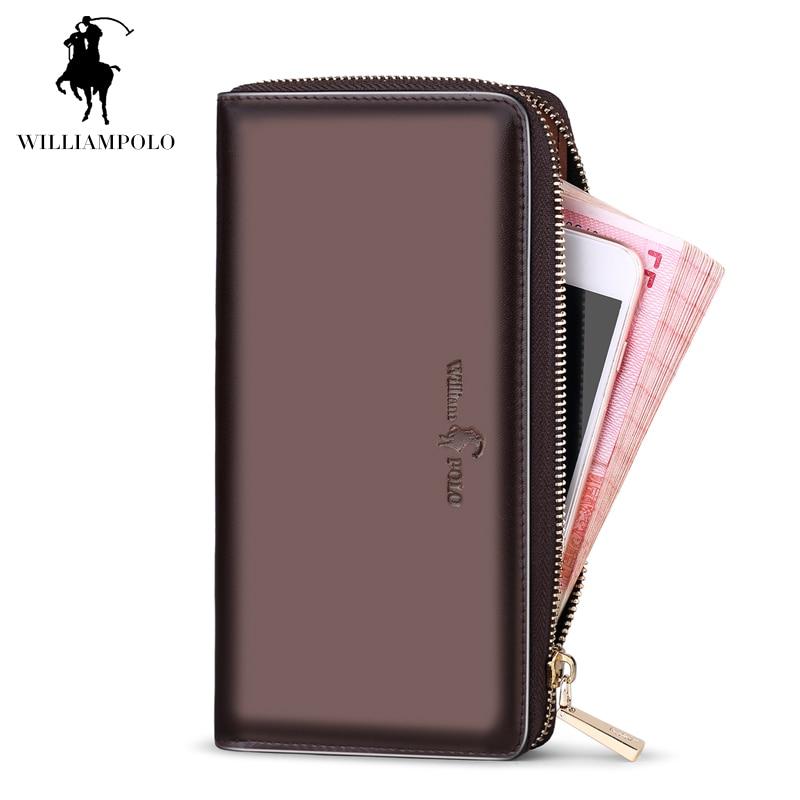 Hot Sale! New 2017 Luxury Men Clutch Wallet Bag Long Genuine Leather men wallets Brand Vintage Zipper 3 Compartments Men Purse