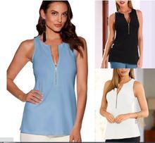 Sleeveless Tank Shirt t-shirt Tees Womens V-neck deep V zipper Stitching tshirt women top