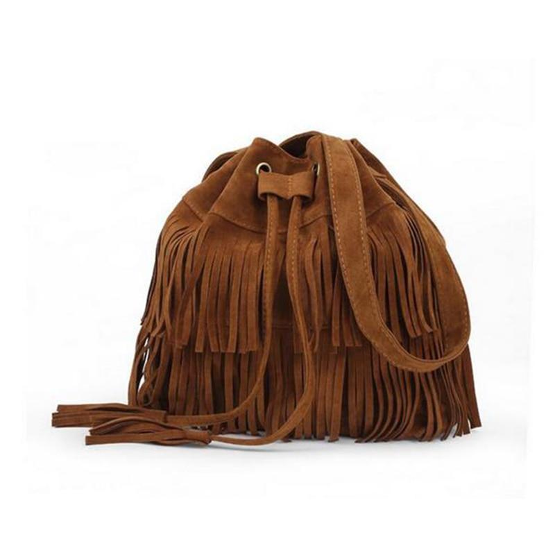 Women Faux Suede Drawstring Bucket Bag Vintage Handbag Fringe Tassel Messenger Shoulder Bags LBY2017