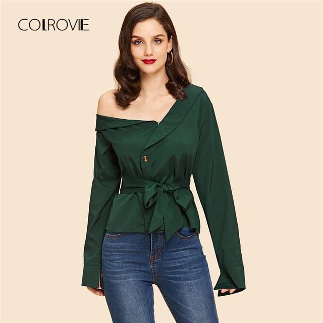 23c5eec486857 COLROVIE Green Asymmetrical Neck Self Tie Waist Blouse Belted Shirt Elegant  Women 2018 New Autumn Long