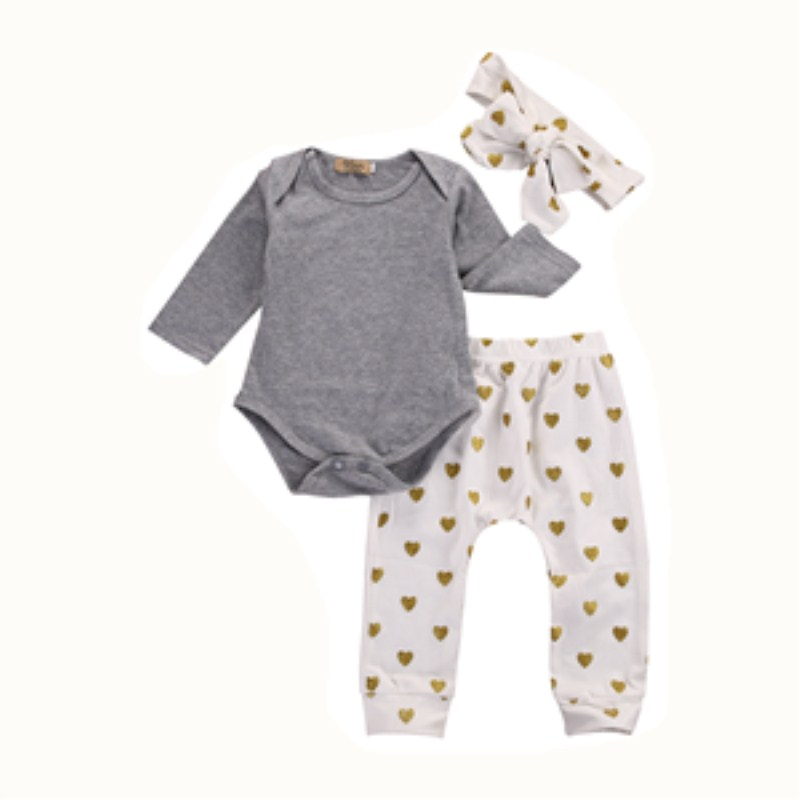3PCS Outfits Newborn Infant Baby Girls Long Sleeve Tops+Pants Leggings+Headband Fashion Clothes Set