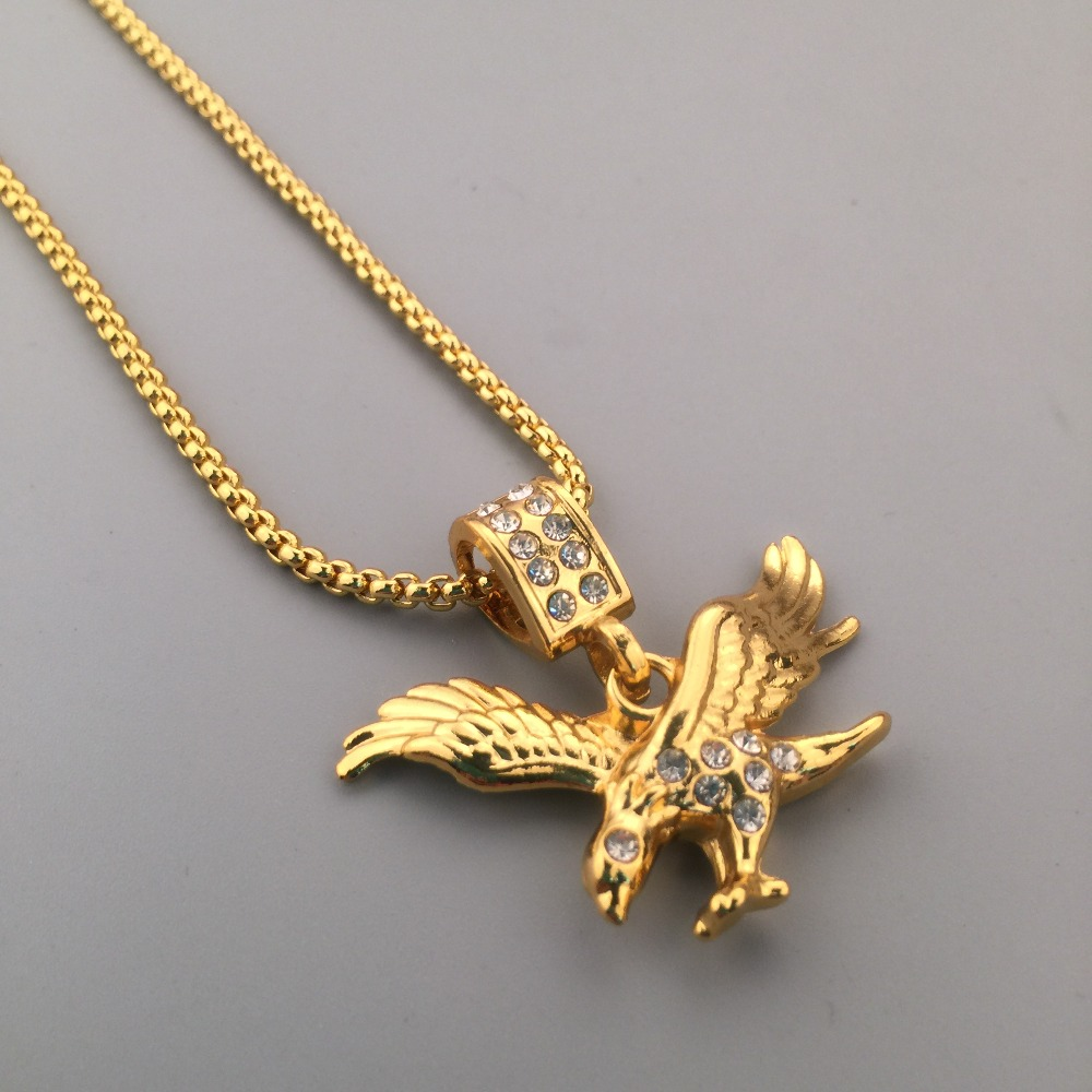 c015f938f4f Iced out NEW Golden Rhinestone Eagle Pendant Boxing Chain Flying Bird Charm Necklace  Hip Hop Style Mens Gift