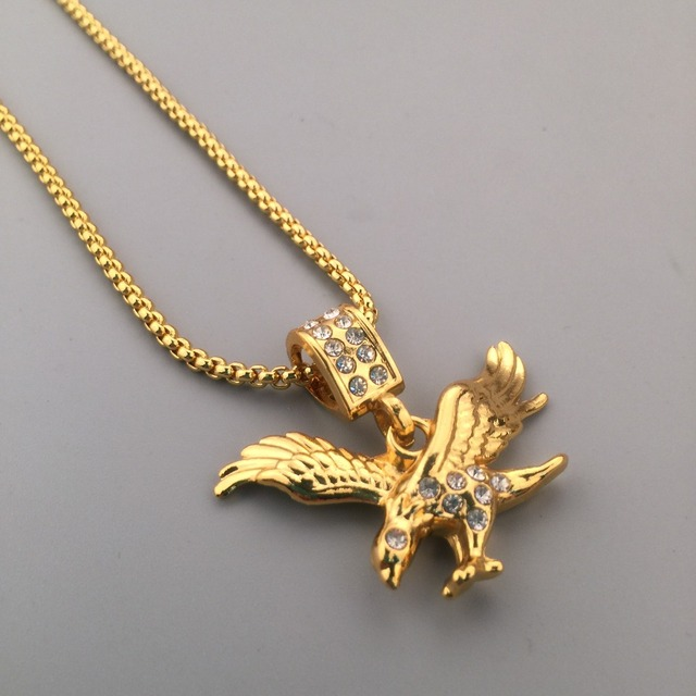 Iced out new golden rhinestone eagle pendant boxing chain flying iced out new golden rhinestone eagle pendant boxing chain flying bird charm necklace hip hop style aloadofball Gallery